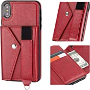 IronSeals AQ 折叠卡槽皮革二合一手机套现金钱包带弹性织带带,适用于 iPhone X/XR/XS MAX/Samsung Note 9 Samsung Note 9 红色