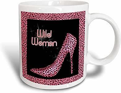 3dRose Pink Cheetah Print Wild Woman Stiletto Pump and Bling - Ceramic Mug, 11-Ounce (mug_21801_1)