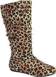 Wells Collection 女士和女孩随性的 Wonda 靴子柔软平跟低跟及膝下高