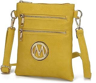 MKF 女式斜挎包 - 可调节肩带 - PU 皮革设计师交叉女士手提包小号邮差钱包 黄色