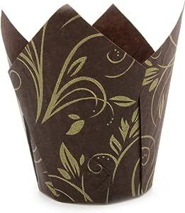 """郁金香纸杯蛋糕烘焙纸杯 方便取出/无需喷涂防粘油 非常适合用于烘焙玛芬蛋糕和纸杯蛋糕,中号:3-17/64 x x 1-57/64 英寸(约 8.7 x 4.8 厘米 )  Brown Tulip with Gold Print Medium H 3-17 / 64"""" x 1-57 / 64"""" B21026"""