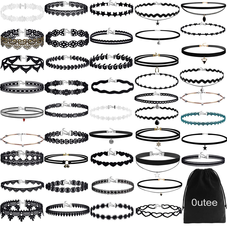 Outee Choker 项链套装 黑色天鹅绒颈圈 纹身项链 经典哥特式女装 55pcs CYM4005