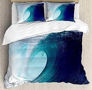 海洋装饰羽绒被套套件 ambesonne ,热带冲浪 WAVE ON A Windy Sea 印度尼西亚 sumatra ,装饰床上用品套装带枕套