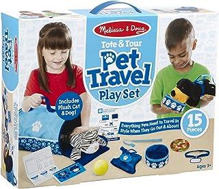 Melissa & Doug 托特和旅行玩具套装 2 个毛绒填充动物(15 个),多色