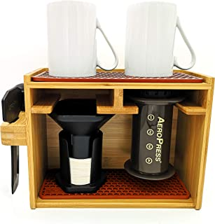 Hexnub Organizer 适用于 Aeropress 咖啡机高级竹架架架,可容纳 Aeropress 咖啡机过滤器杯配件,带硅胶滴滤垫(棕色)
