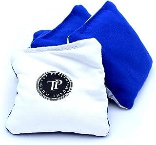 Top Percent 发光发光沙包带 LED 灯 - 常规尺寸和重量 - 4 件套双面(粘合和切片)豆袋,后院乐趣适合家人和朋友。 蓝色