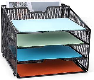 网状办公用品桌面收纳袋,网眼金属桌面文件架收纳袋,4个字母纸托盘和1个垂直部分,黑色