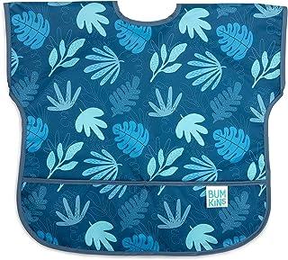 Bumkins 儿童围兜,短袖幼儿围兜,罩杯,防水,可水洗,防污防臭 Blue Tropic