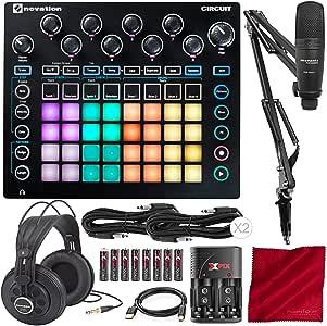 Novation 电路凹槽盒 2 部分合成器,鼓机,定型器 + 带 Marantz 专业套筒包装的样品,1 个 USB 麦克风套件和豪华配件包