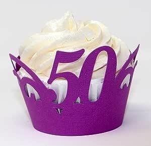 All About Details 50 纸杯蛋糕包装,12 件,50 岁生日纸杯蛋糕包装,50 周年纸杯蛋糕包装,50 周年装饰 紫色 CWR50
