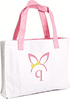 Cathy's Concepts Girls Easter Bunny Canvas Tote Bag, Monogrammed Letter Q