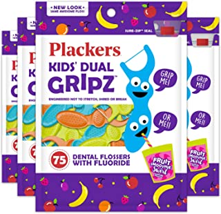 Plackers儿童牙线,75 根(4 盒装)