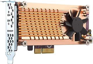 Qnap 双 M.2 22110/2280 SATA SSD 扩展卡(PCIe Gen2 X 2),半高支架预安装,低调平和全高捆绑 PCIe Gen3x4,M.2PCIeSSD X 2,PCIe Gen3 x4 host
