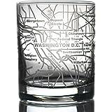 Greenline Goods 威士忌眼镜 - 283.50 ml 玻璃杯(单杯)  蚀刻城市地图   老式石玻璃 Washington, DC