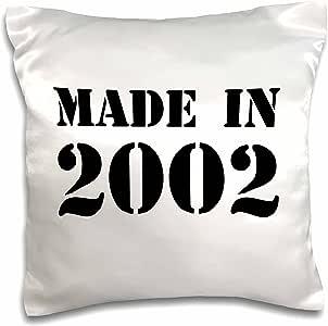 """InspirationzStore 排版 - Made in 2002 - 趣味生日生日出生年文字 - 有趣的黑色生日印章 带您出生的年份 - 幽默 - 枕套 白色 16 x 16"""" pc_162768_1"""