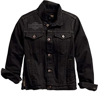 Harley-Davidson 女士带翅膀贴花牛仔夹克,黑色