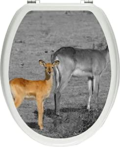 Pixxp/3D WCS 4320 32x40 华丽的印度Gazelle 带有甜美的年轻动物马桶盖贴纸,WC,马桶盖,Gläzendes 材料黑/白色,40 x 32 厘米