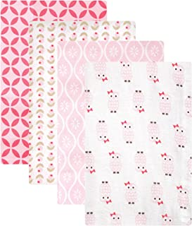 Hudson婴儿法兰绒包毯4包 Pink Owls 30 X 36