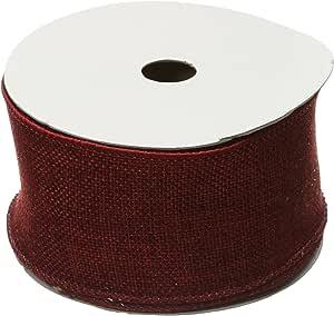 Kel-Toy RDJB106-11 Sparkle Faux Burlap Ribbon, 6-Inch by 10-Yard, Dark Red