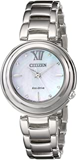 Citizen 西铁城 Sunrise 女式石英手表珍珠母表盘 模拟显示和银色不锈钢镀金表链 EM0330-55D