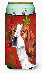 Caroline's Treasures SC9409-Parent Beagle 红色和绿色雪花节日圣诞节*饮料隔热器适用于苗条罐 SC9409MUK,多色 多种颜色 Tall Boy SC9409TBC