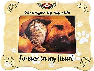 Home-X 宠物纪念相框 - No Longer by My Side Forever in My Heart-纪念相框,对狗或猫丢失的同情 - 适合标准 4x6 英寸照片