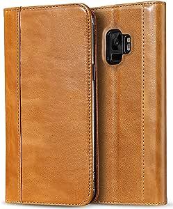 ProCase Galaxy S9 真皮手机壳,复古钱包折叠翻盖手机壳带支架和多卡夹,适用于 5.8 英寸三星 Galaxy S9 棕色