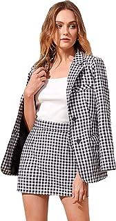Floerns 女式格子翻领前纽扣长袖西装外套