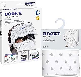 原装 Dooky Combi Pack Cover & Decke Silver Stars 设计通用遮阳,防风雨套装适用于婴儿提篮、婴儿车和婴儿车(通用款配魔术贴,紫外线防护LSF 40+)