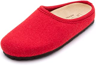 Le Clare Nebraska 女士羊毛毡木底拖鞋带足弓支撑软木内底室内户外鞋底