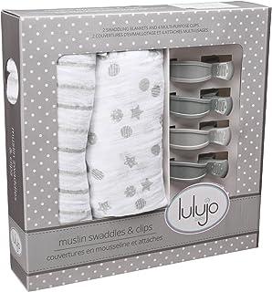 lulujo Baby 棉布襁褓毯和婴儿车夹婴儿套装 灰色