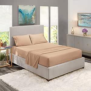床单套装,亚马逊床单套装,深口袋床笠,* 豪华柔软超细纤维,低*性,清凉透气 灰褐色 加州King size B011PTCLC4