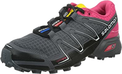 Salomon 女士 SPEEDCROSS VARIO W-W FOOTWEAR ROAD RUNNING SHOES SPEEDCROSS VARIO W-W Black / Hot Pink / Dark Cloud 5 B(M) US