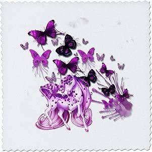 3dRose 漂亮粉色独角兽和蝴蝶明亮彩色艺术 - 方形被子,25.4 x 25.4 cm (qs_245357_1)