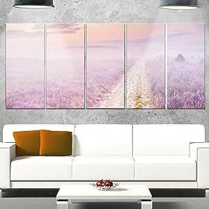 "Designart MT11514-20-12 穿过盛开杂色景观金属墙体艺术 50.8x30.48,紫色,50.8x30.48 紫色 60x28"" - 5 Equal Panels MT11514-401"