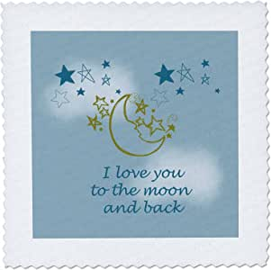 3dRose qs_155825_10 I Love You to The Moon and Back Quilt Square, 25 by 25-Inch