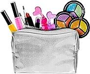 女孩儿童化妆套装 带闪光化妆包 - 可水洗女孩化妆包 - 2 个*油 2 个唇膏 2 个唇彩 3 眼影化妆镜 - 多合一儿童女孩化妆玩具