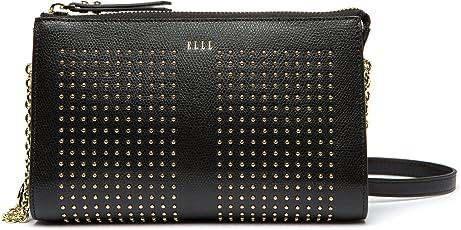 ELLE 女式 时尚百搭牛皮包单肩斜挎包 E27F1270818BK 黑色 210 * 55 * 130mm