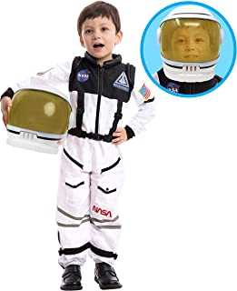 宇航员美国宇航局飞行员服装带可移动的遮阳帽,适合儿童、男孩、女孩、幼儿、空间假扮角色扮演、学校课堂舞台表演、万圣节派对礼物 Medium (8-10yr) 白色