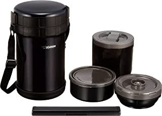 ZOJIRUSHI 象印 不銹鋼便當盒 約4杯茶碗的量 約1.6合(約0.27L)  可用于微波爐 黑色  SL-XE20-AD