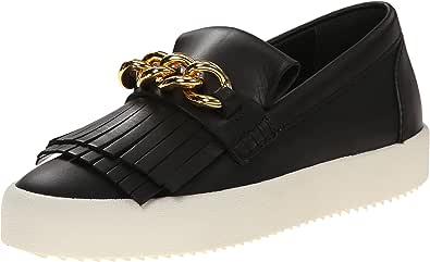 Giuseppe Zanotti Women's Gold Chain Slip On Fashion Sneaker Birel Nero 7 B(M) US