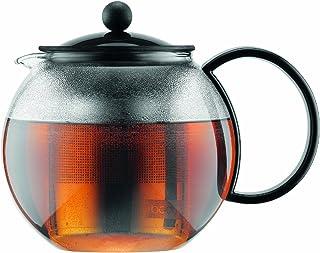 Bodum Assam 玻璃茶壶,带不锈钢过滤器 黑色 34-Ounce 1805-01US