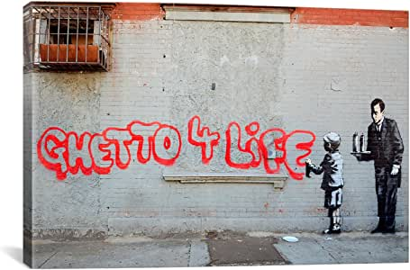 iCanvasART BNK17 Ghetto 4 Life by Banksy Canvas Print, 18-Inch by 12-Inch, 0.75-Inch Deep
