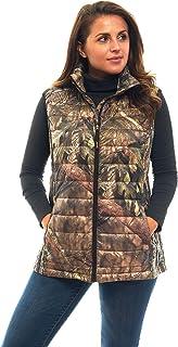 TrailCrest 女式可折叠超轻羽绒背心,户外羽绒背心,青苔橡木迷彩图案