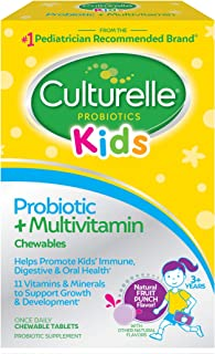 Culturelle 儿童益生菌+完整的多种维生素 咀嚼 维生素A, C, E的优秀来源 含有LGG 经过验证的益生菌| 30粒