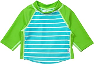 I PLAY . 婴儿和幼儿男孩七分袖***衣衬衫 Aqua Stripe 24 Months