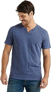 Lucky Brand 男式短袖缺口领粗纺 T 恤