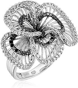纯银黑白钻石花朵戒指(1 克拉总重,I-J 颜色,I2-I3 净度),尺码 7