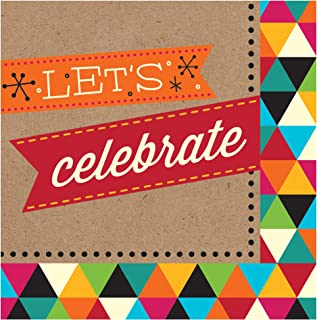Creative Converting 16 片装 3 层 Let's Celebrate 午餐餐巾,生日牛皮纸