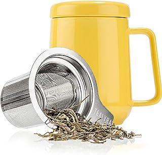 Tealyra - Peak 陶瓷茶杯注入器 - 19 盎司,580ml - 大号茶杯高温陶瓷杯带盖不锈钢注入器,茶杯适合办公室和家庭使用 黄色 19-Ounce COMINHKG100023